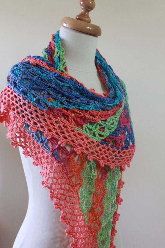 EXPRESS DELIVERY Shawl Colorful Wrap Bamboo Shawl Crochet Stole Spring Trend Summer Fashion