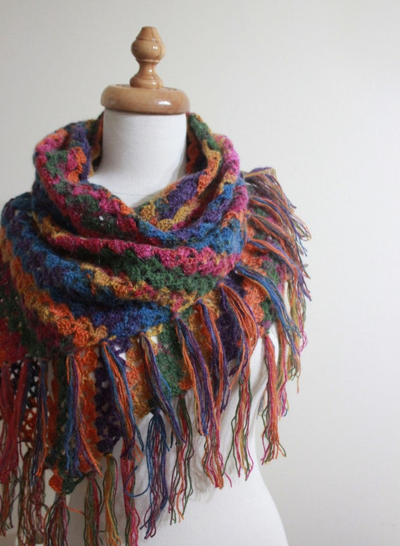 Batik Design Shawl - Colorful Triangle Stole - Beautiful Soft Scarf Modern Gift For Her  / Winter Accessories