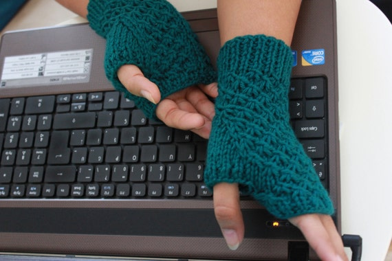 Teal Fingerless Gloves winter fashion. READY TO SHIPPING