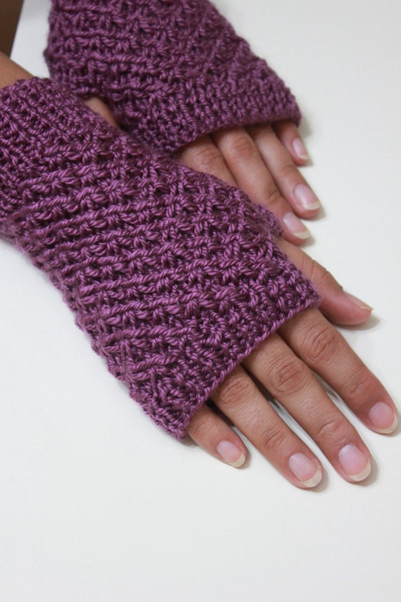 Purple Fingerless Gloves READY TO SHIPPING