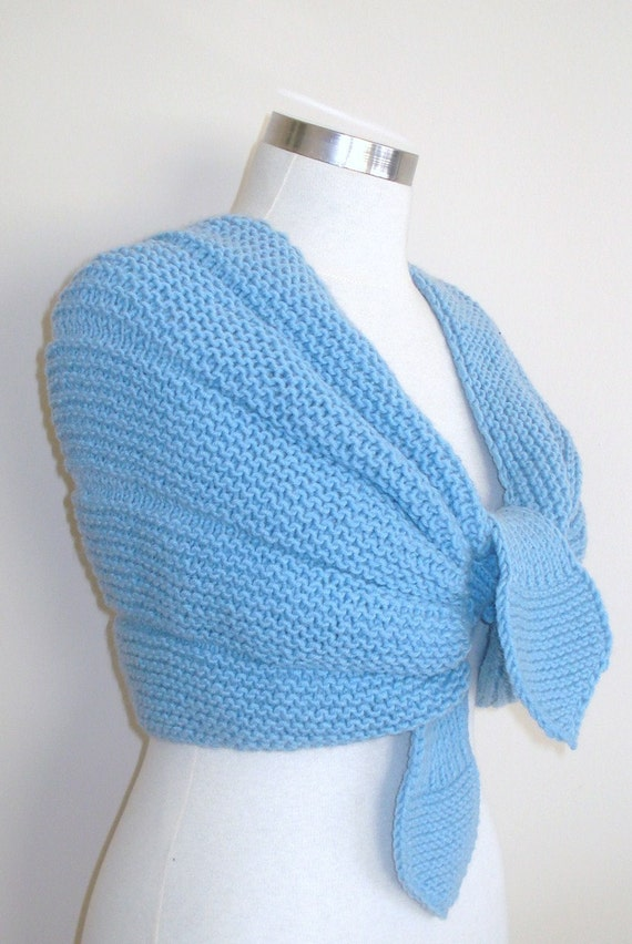 Blue Knitting Shawl Stole and Scarf Hand Knitted Wool Acrylic Very Soft Romantic Chic READY TO SHIPPING
