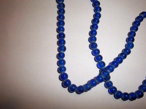Sale-Blue Cobalt  White Heart Beads - 100 7mm