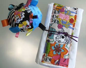 Los Novios Day of the Dead SET of (2) Burp Cloths & Soft Ball
