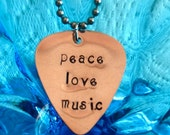 peace love music, Guitar Pick Necklace