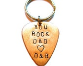 YOU ROCK DAD  with initials hand stamped guitar pick key chain