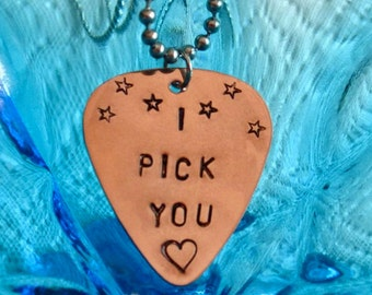 Guitar Pick Necklace, I PICK YOU