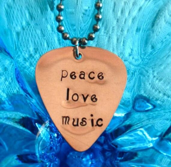 peace love music, Guitar Pick Necklace