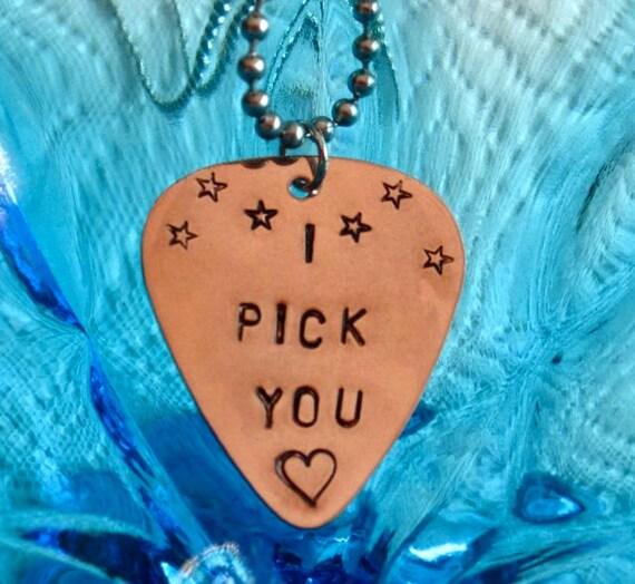Guitar Pick Necklace, I PICK YOU