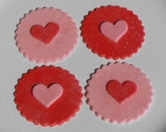 Heart or Valentine's Fondant Cupcake Toppers
