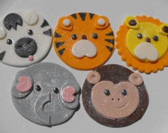 Safari Jungle Zoo Animal Faces Cupcake Toppers