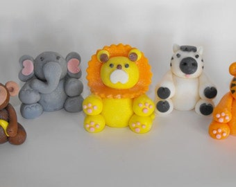 Safari Jungle Zoo Animals Characters Cupcake or Cake Toppers- set of 5