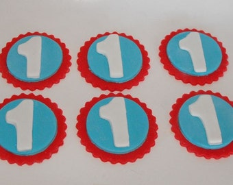 Number Fondant Cupcake Toppers - You pick colors