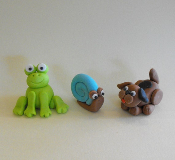 Frogs Snails and Puppy Dog Tails Cupcake or Cake Toppers - set of 3
