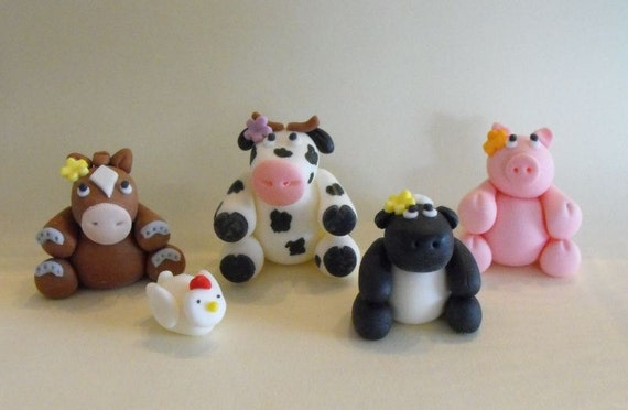 Farm Animals with Flowers Cupcake or Cake Toppers - set of 5