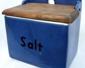 RESERVED for Nikinoo,  Antique Czechoslovakia Salt Box Porcelain Blue Wood Lid Kitchen