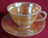 Fire King Lustre Ware Peach Tea Cup 3 Bands Rings Vintage Ribbed