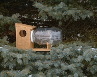 The Original Squirrel Feeder in a Jar Chipmunks Gift Idea Wildlife Garden Handcrafted Wood Winter The Need to Feed!
