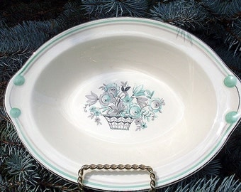 Vegetable Bowl Green Taylor Smith Floral Premier Rare Mint Vintage Oval