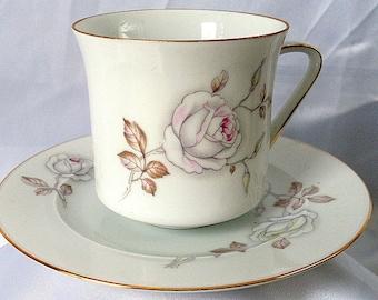 Vintage Teacup Rose Johann Haviland Bavaria Germany Saucer