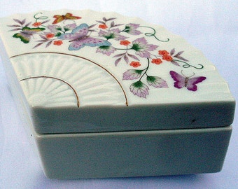 Porcelain Trinket Box Japan 1980 Avon Butterfly Flower Fan