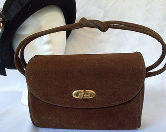 Brown Evening Purse Handbag Velour Vintage Stylemark