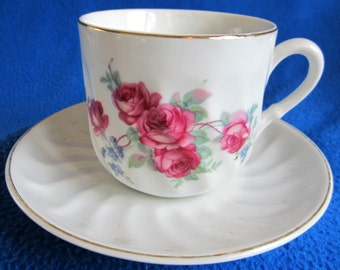 Germany Teacup Rose Bone China Gold Swirl Ornate Red Unique