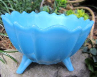 Westmoreland Blue Satin Glass Footed Dish Bowl Vintage
