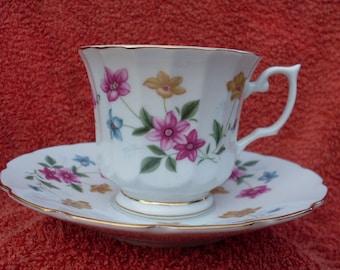 Tea Cup Saucer Demitasse Flowers Gold Vintage Bone China Trim Flowers Teacup