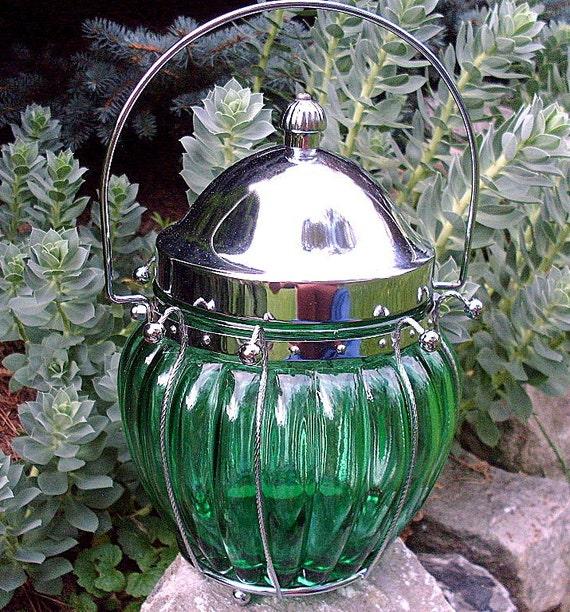 Vintage Green Glass Ginger Cookie Candy Jar  Japan Basket  Love Story