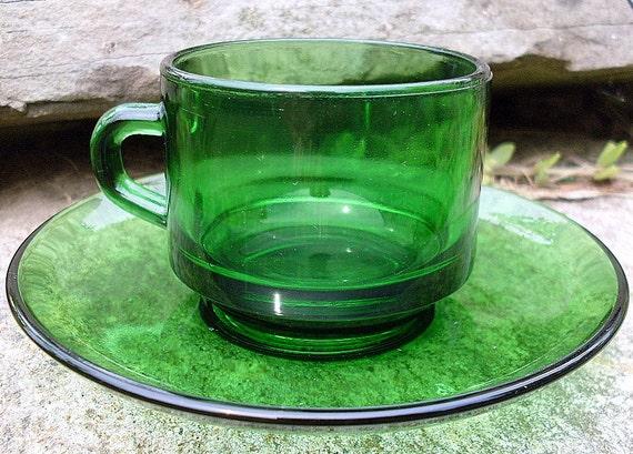 Vintage VERECO FRANCE  Emerald Green Glass TEACUP Saucer Depression Miniature