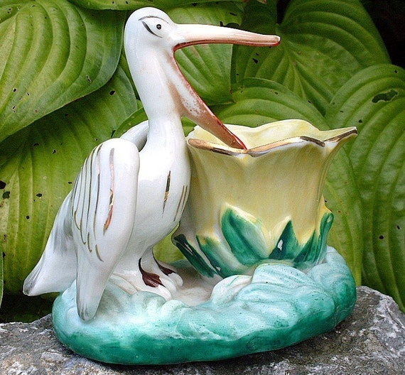 Vintage Pelican Flower Vase Planter Ceramic Japan Bird Gold