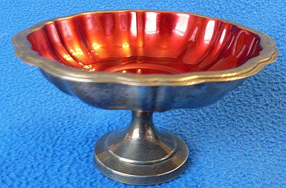 Oneida Rogers Silver Plate Compote Candy Dish Nut Red Bon Bon