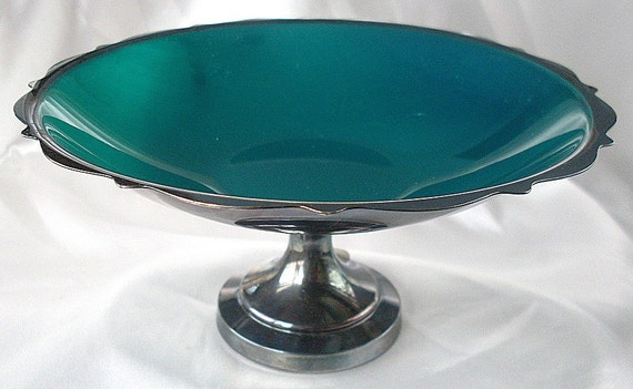 Oneida Rogers Silver Plate Compote Candy Dish Nut Green Bon Bon