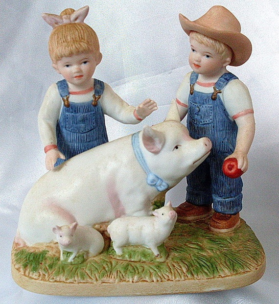 1985 Homco Figurine Denim Days Prize Pig Porcelain Girl Boy