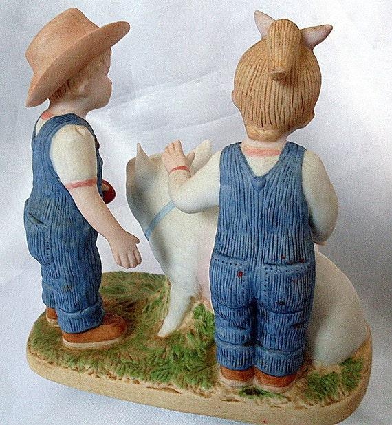 1985 Homco Figurine Denim Days Prize Pig Porcelain Girl Boy
