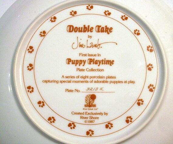 Puppy Plate Porcelain Gold Jim Lamb Hamilton 1987 Double Take