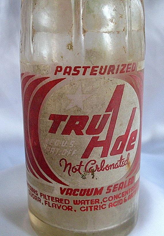 Vintage Antique Tru Ade Soda Bottle Glass Dug Troy Ny Rare