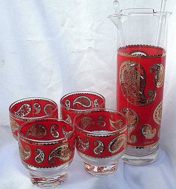Vintage Culver Martini Glass Pitcher Gold Red Paisley Martini