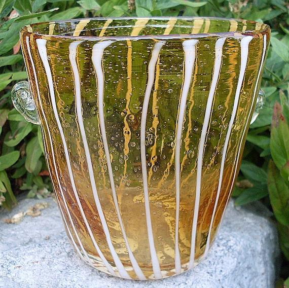 Murano Art Glass Vintage Blown VENINI Ice Bucket Amber Stripes