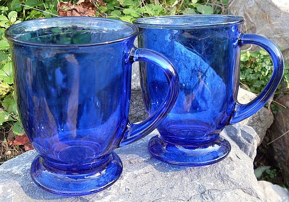 Anchor Hocking Glass Cobalt Blue Coffee Mug Footed