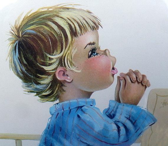Print Picture Boy Praying Artist Constanza Vintage Frame Blue Pajamas