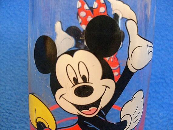 Disney Mickey Minnie Mouse Glass Vintage Tumbler Anchor Hocking