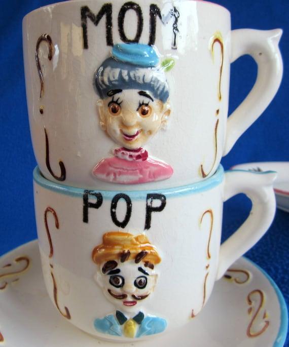 Vintage Mom Pop Teacup Ceramic Japan Nippon Hand Painted Unique