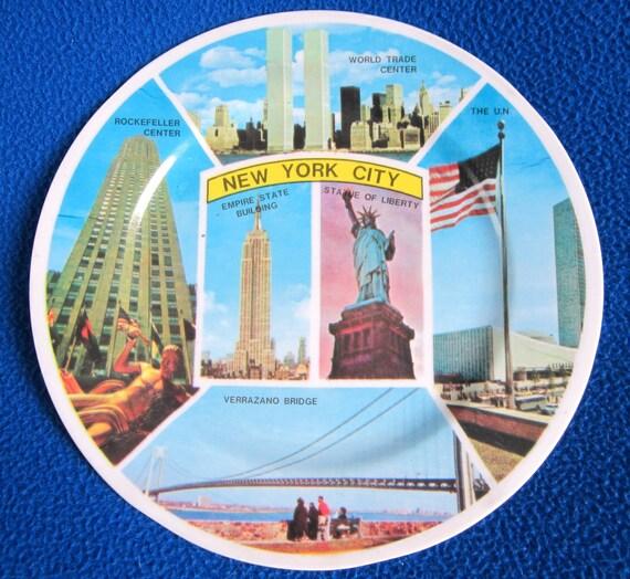 New York City Souvenir Plate World Trade Center Statue Liberty Vintage Original