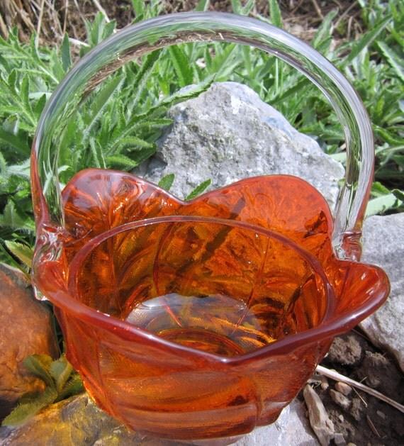 Glass Basket Vintage Amberina Flower Blown Handle Petal Applied