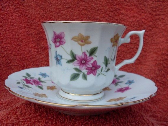 Teacup Saucer Demitasse Flowers Gold Vintage Bone China Trim Flowers