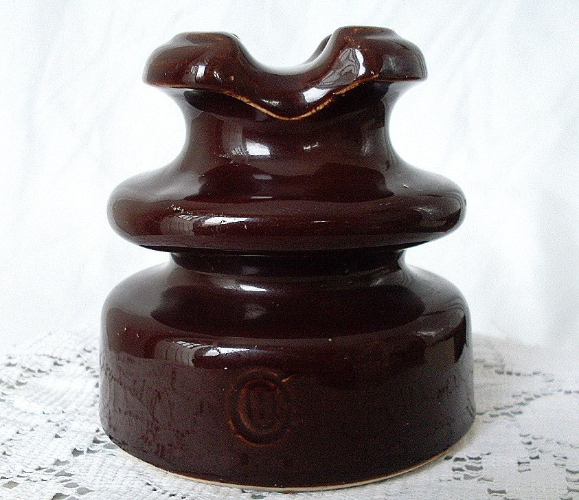 Vintage Brown Ceramic Insulator Porcelain Wire Telephone Wood