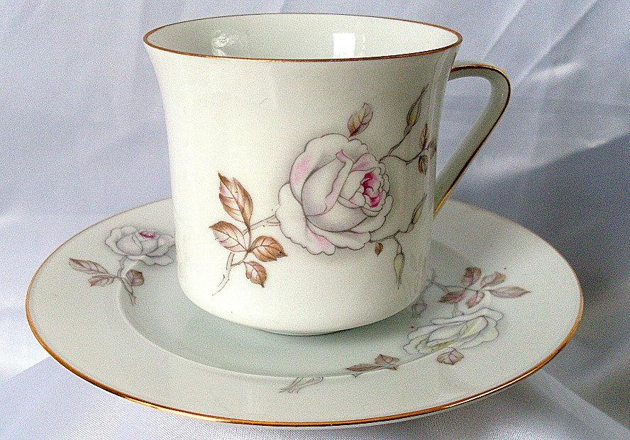 Vintage teacup rose johann haviland bavaria germany saucer by ddb7