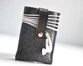 Iphone Case - Graphite Gray Wool Felt and Black Leather