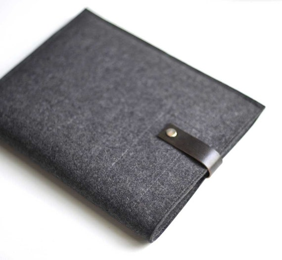 Ipad Sleeve - Graphite Wool Felt and Black Leather
